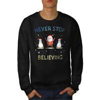 Wellcoda Holidays Christmas Mens Sweatshirt, Believing Casual Pullover Jumper