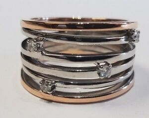 Stunning Broad 18ct White & Red Gold Multi Banded Diamond Ring Size O 11.4 grams