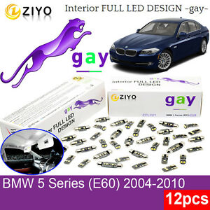 12 Bulbs LED Interior Light Kit Xenon White Lamp For BMW 5 Series E60 Error Free