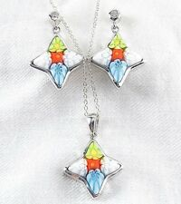 Genuine Millefiori Murano Glass Necklace Earring Set 925 Sterling Silver 18