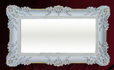 Espejo de pared Rectangular Oro Blanco Barroco Decoración Antiguo 96x57cm NUEVO