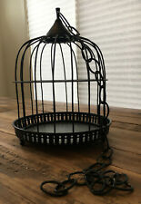 Vintage decorative metal bird cage black dome shape hanging chain tri-footed