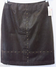 Conrad C Petite 6 Sexy Designer Brown Leather Look Print Skirt Studded NWT