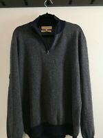 Mens M&S Collezione Blue Cashmere Silk Blend ZIP Neck sweater Jumper Size XL