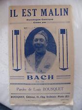 Partition Monologue Comique Il est Malin Bach