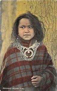 J2/ Native American Indian Postcard c1910 Navajo Indian Girl Necklace 69