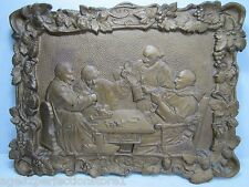 Antique 1800s Cast Iron Tavern Scene Artwork Plaque ornate high relief self frm