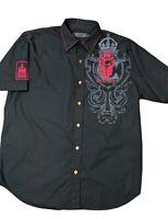 COOGIE Australia Mens XL Shirt Short Sleeve Collared Button Down Black + Red