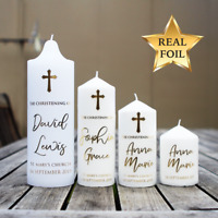 Custom Real Foil Water slide Decal, Baptismal Candle Christening gift favour