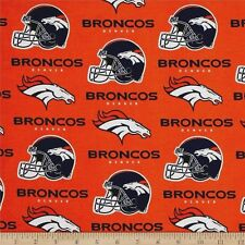 NFL DENVER BRONCOS ORANGE PRINT 100% COTTON FABRIC BY THE 1/2 YARD