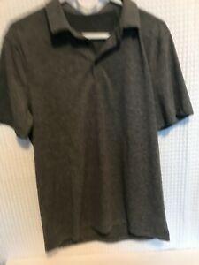 Lululemon Mens Evolution Short Sleeve Polo Shirt Heathered GRAY SZ M