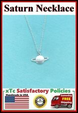 Beautiful Saturn Planet Silver Charm Necklace.