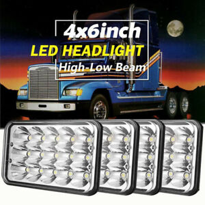 "For Peterbilt Kenworth W900 Freightliner FLD120 4x6"" Square LED Headlights Hi/Lo"