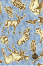 Moose Deer Eagle Owl Duck Beaver Wolf  Wildlife on Shaded Blue Cotton Fabric BTY