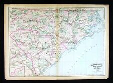 1872 Asher Adams Map - North & South Carolina Cape Hatteras Charleston Columbia