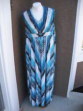 New $159 Chico's Soldout Chevron Jasmina Blue White Maxi Dress 3 = 16 18 XL NWT