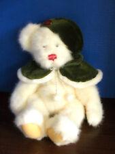 "18"" Plush~Russ Berrie~CRYSTAL~White TEDDY BEAR~Green Hat & Cape~Very Nice"