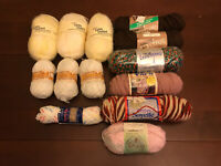 Vintage Lot of Mixed Yarn 13 Skeins Lion Brand Bernat Sayelle Caron Brunswick