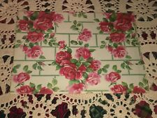 Vtg Wrapping Paper Gift Wrap Roses On Wall All Occasion Floral Nos 1940