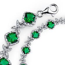 Sterling Silver Cushion Cut Simulated Dainty Green Emeralds CZ Tennis Bracelet