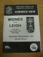 13/09/1978 Rugby League Programme: Lancashire Cup Semi-Final, Widnes v Leigh  (s