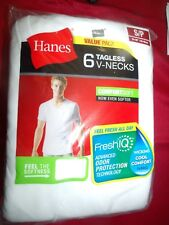 Mens Hanes 6 Tagless V-Neck Comfort Blend T-Shirts White Size S/P Odor Tech NWT