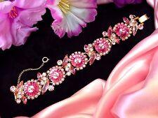 Vintage JULIANA Ruffle Edged Pink Margarita Rhinestone Bracelet Minty Marvelous