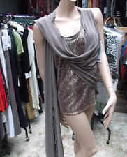 Joseph Ribkoff 14 BNWT Gorgeous Taupe Sequin Cami +Wrap Jacket Mock Twin Set Top