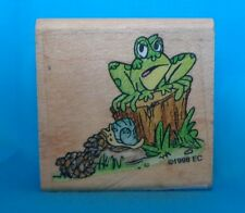 Frog and Snail 1998 Wood Mounted Rubber Stamp NEW  Really Cute