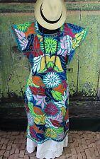 Gala Huipil Multi-Color Hand Embroidery Dress Jalapa Oaxaca Mexico Cowgirl Boho