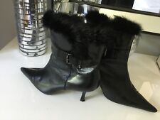 Bandolino Black Leather Pointy Boots With Black Rabbit Fur Trim - Size 9