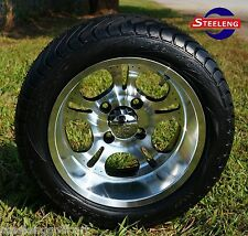 "GOLF CART 12"" LIGHTSIDE ALUMINUM WHEELS and 215/40-12 DOT LOW PROFILE TIRES (4)"