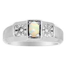 Opal & Diamond Mens Ring October Stone Sterling Silver Yellow Gold Plated