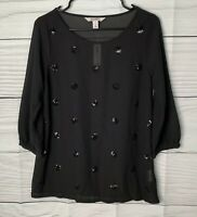 Old Navy Women's Blouse Size S Sheer 3/4 Sleeves Sequence Dots Black