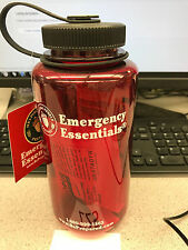 Red Water Bottle with 10 Micropur Purification tablets 1 liter