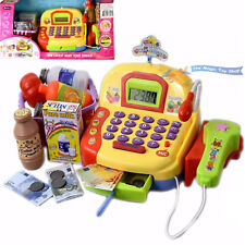 Kids Electronic Cash Register Toy Till Working Scan Microphone Shopping Basket