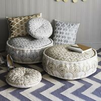 Gold White Boho Round Scatter Cushion Bohemian Bombay Duck Embroidered Casablaca