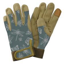 Kent & Stowe Ladies Premium Comfort Gardening Gloves Planting Flutter Bugs Green