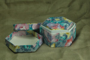 Decorative Octagonal Nesting Boxes 6 levels deep -soft floral fabric