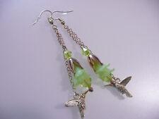 Vintage Art Deco Style Hummingbird & Lime Green Lucite Flower Long Earrings Prom