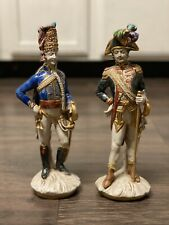 Antique Italy Porcelain Hand Painted Hussar and Drum Major Marked
