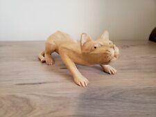 Vintage Hand Carved wood Crouching Cat 4 1/2� Figurine