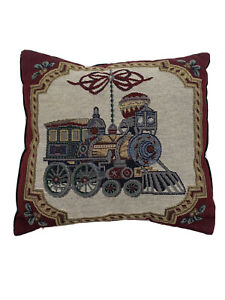 """Train Tapestry Throw Pillow Accent Decorative Pillow 12"""" X 12"""" Square Green"""