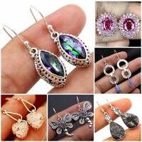 925 Silver Ear Hook Stud Dangle Drop Handmade Moonstone Amethyst Earrings Gift