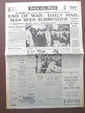 WW2 Newspaper September 3 1945 DAILY MAIL END of WAR Japanese Surrender WARTIME