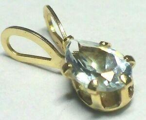 Beautiful  Solid 14k Yellow  Gold  With Aquamarine   Charm / Pendant