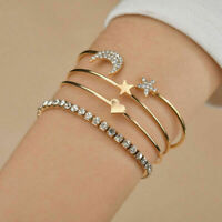 Fashion4Pcs Women Fashion Star Moon Love Heart Bracelet Bangle Chain Jewelry Set