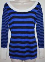 Women's Knit Blue & Black Scoop Neck SWEATER Shirt size M medium