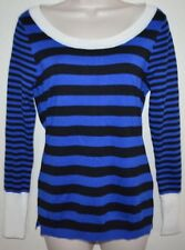 Women's Knit Blue & Black Scoop Neck SWEATER Shirt size M medium
