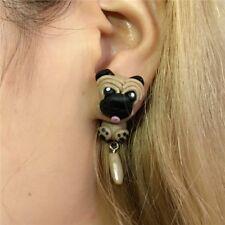 3D Sharpei Pug Dog Earrings For Women Polymer Clay Cartoon Animal Stud Earring